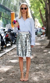 skirt,sequin skirt,midi skirt,sequins,silver,shirt,blue shirt,sandals,sandal heels,high heel sandals,white sandals,sunglasses,heart sunglasses,streetstyle