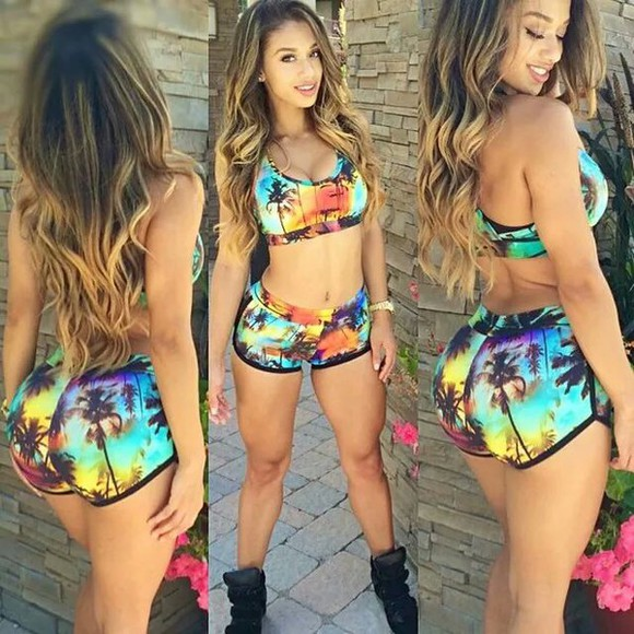 green yellow pineapple print pineapple trees floral shorts pineapple shorts summer shorts holidays coconut tree sun colorful sportswear sport bra bra orange