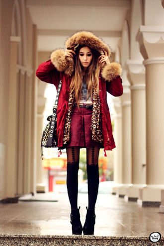 fashion coolture skirt coat underwear shirt bag red fur hooded belt winter outfits