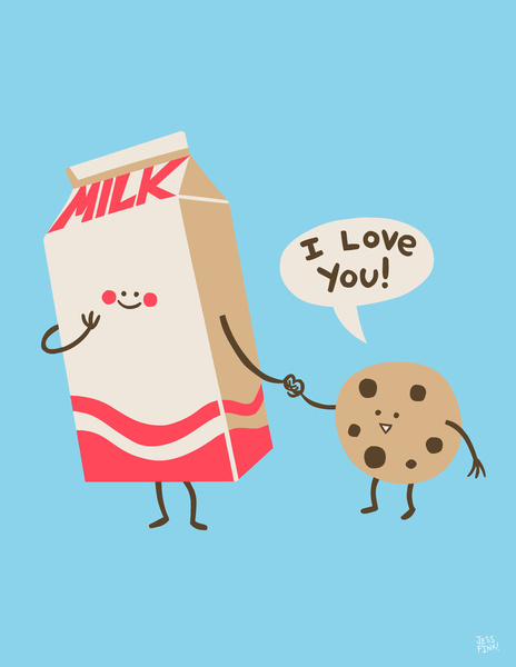 Cookie Loves Milk Art Print by Jessica Fink