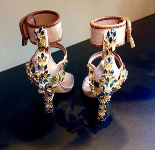 shoes heels gold heels jewels blue high heels ankle strap heels sandal heels style nude heels blue diamonds