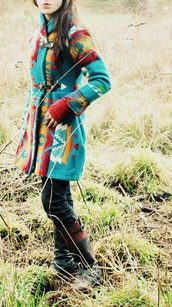 jacket,colorful,red,yellow,white,teal,warm,aztec,coat,pattern,winter coat