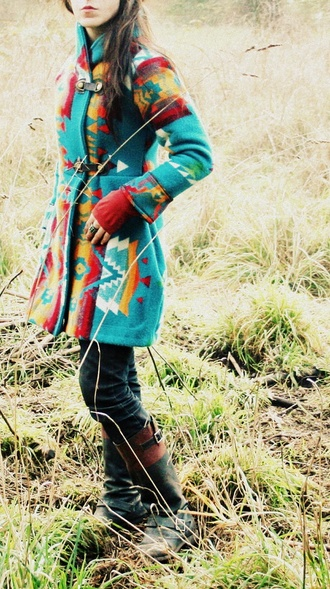 jacket colorful red yellow white teal warm aztec coat pattern winter coat