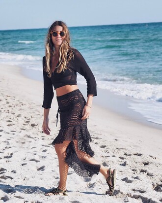 shoes nomadic state of mind sandals flat sandals skirt midi skirt black skirt crochet top black top crop tops sunglasses