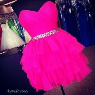 dress dance dress hot pink pink silver sequins ruffle sweetheart