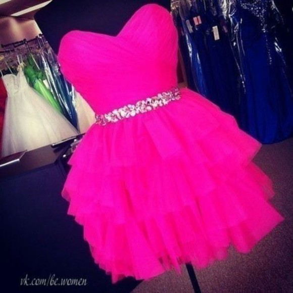 silver sequins pink dress dance dress hot pink ruffles sweetheart