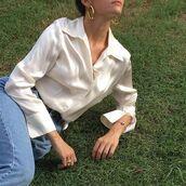 top,silk,tumblr,artsy,art hoe,shirt,silky,dreamy,boho,gold,shiny,blouse,beautiful,silk shirt,aesthetic,silky pajamas,bohemian,constellation,nichememes,niche memes,pinterest,white blouse,vintage,greek goddess,egyptian goddess,instagram