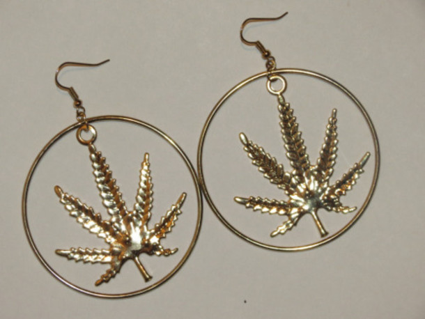 jewels weed earrings marijuana earrings cannabis earrings gold hoops hoop earrings