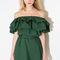Dark green off shoulder ruffles dress