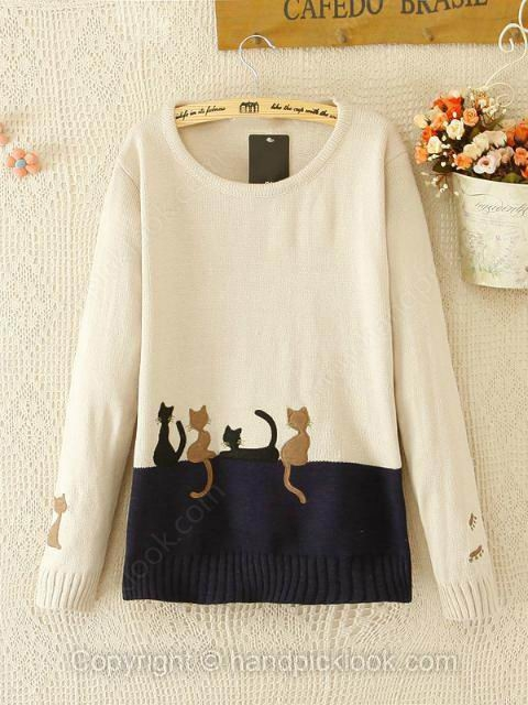 Beige Long Sleeve Cat Print Wool Sweater - HandpickLook.com