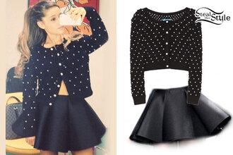 sweater cute polka dots black white ariana grande skirt black skirt