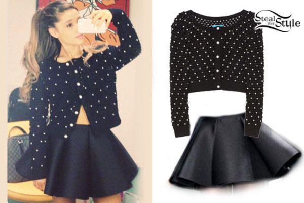 sweater cute polka dots black white ariana grande skirt black skirt