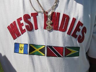 west indian t-shirt jamaica trinidad barbados guyana white t-shirt shirt dope top west indies flag guaya island shirts red green yellow black jacket white