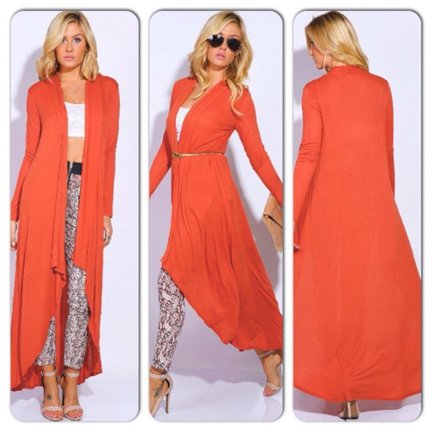 Long cardigan orange outdoor jacket Beauty avenue fashion style fun