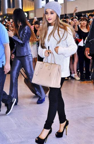 shoes ariana grande hat high heels bag