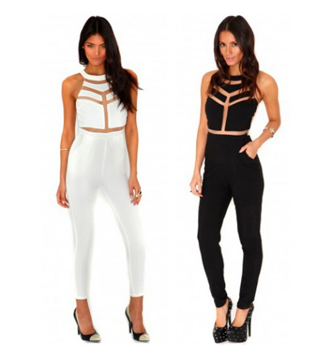 Mesh Panelled Jumpsuit