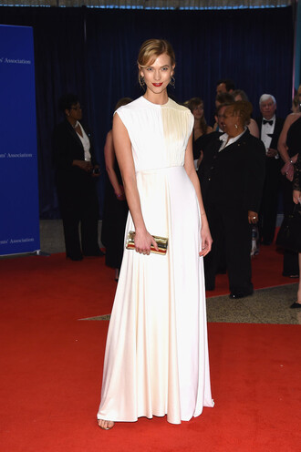 white white dress karlie kloss gown prom dress red carpet dress