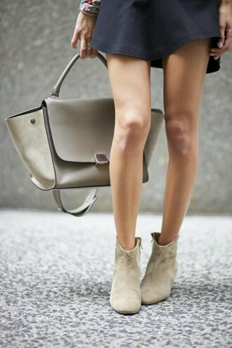 ankle boots boots beige beige shoes fall outfits