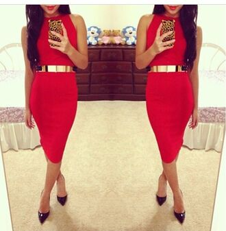 dress red gold belt tight high neck no sleeves bodycon belt