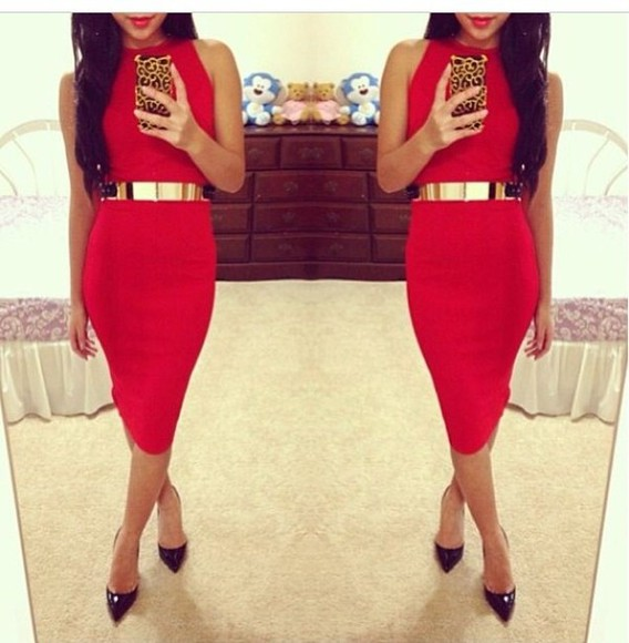 dress bodycon red gold belt tight high neckline no sleeves