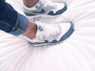 shoes air max bleu balnc gris