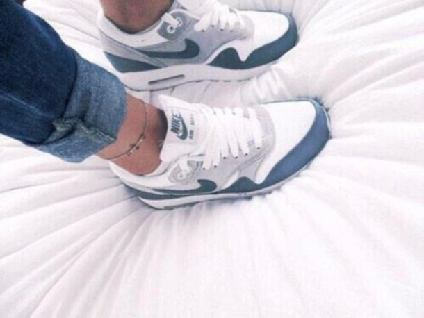 shoes air max bleu balnc gris
