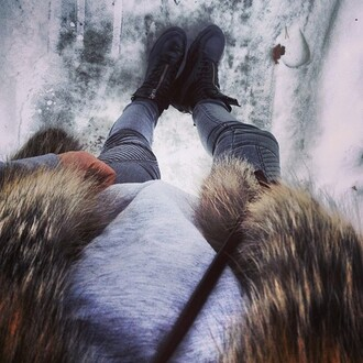 jeans biker jeans fur bag grey oversized jumper black high tops cara delevingne shoes luxury coat