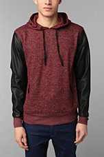 The Narrows Faux-Leather Sleeve Pullover Hoodie - Urban Outfitters