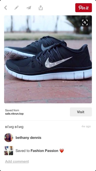 nike sneakers black sneakers swarovski nike free runs 5.0 shoes nike black sparkle silver nike shoes