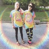 shirt,pastel,unicorn shirt,pants,t-shirt,i'm more majestic than you,tie dye,leggings