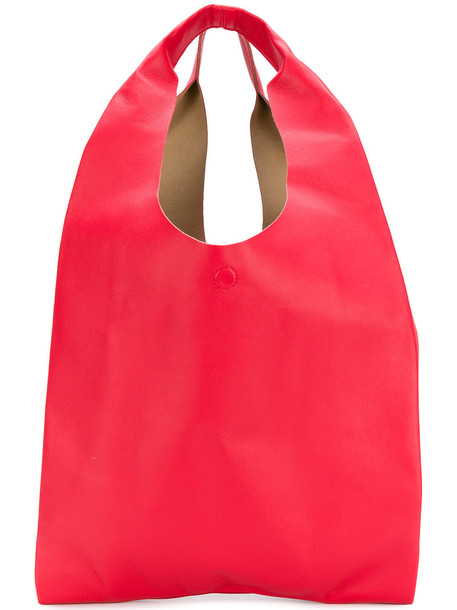oversized women leather red bag
