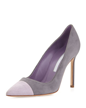 Manolo Blahnik Bipunta Bicolor Suede 105mm Cap-Toe Pump, Gray/Lilac