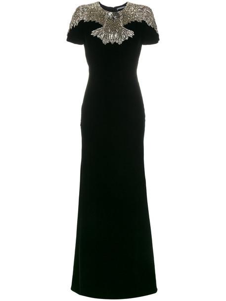 Alexander Mcqueen gown eagle women embellished black silk dress