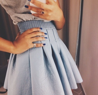 light blue blue skirt skater skirt mint leather skirt preppy girly girlygirl skirt pastel blue shirt