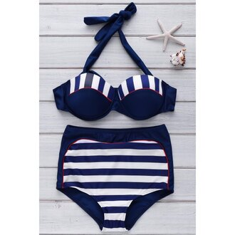 swimwear bikini stripes navy summer high waisted beach rose wholesale-ap