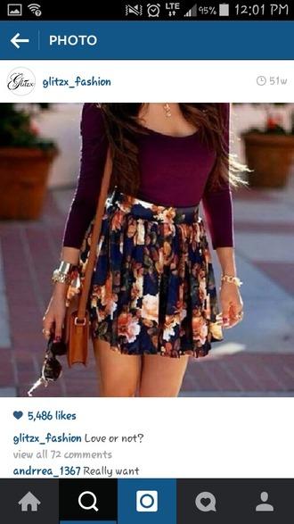 skirt floral skirt dark blue skirt shirt