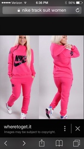 jumpsuit,nike sweatpants,sweater,nike sweater,clothes,nike,sweatsuit set,pink,jacket