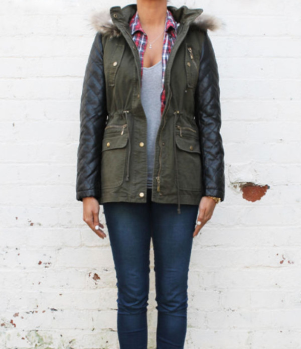 Green Parka Jacket With Leather Sleeves dGSrcn