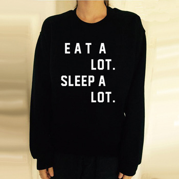 Womens Black Eat A Lot Sleep A Lot Funny Lettered Print Sweatshirt ...