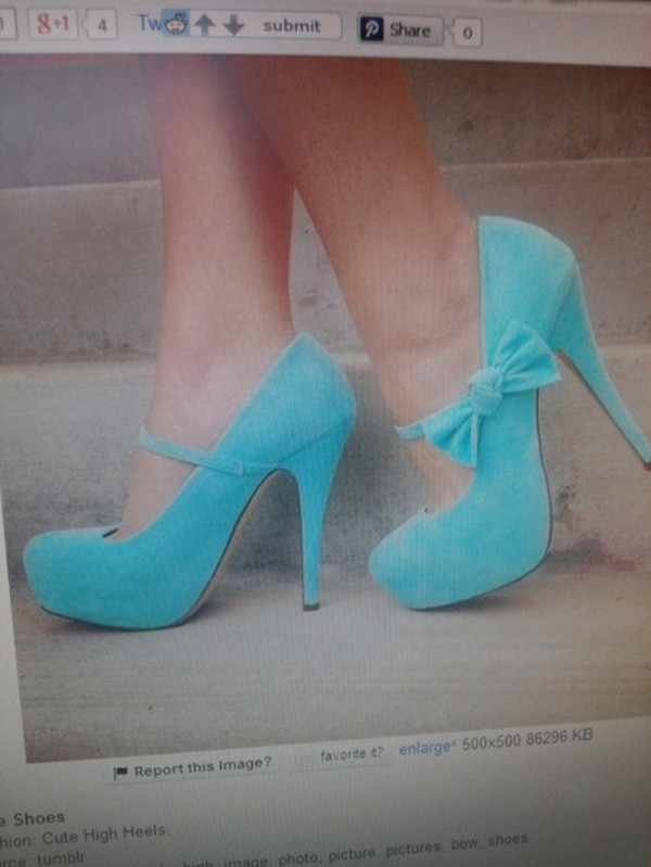 shoes high heels light blue bow perfection
