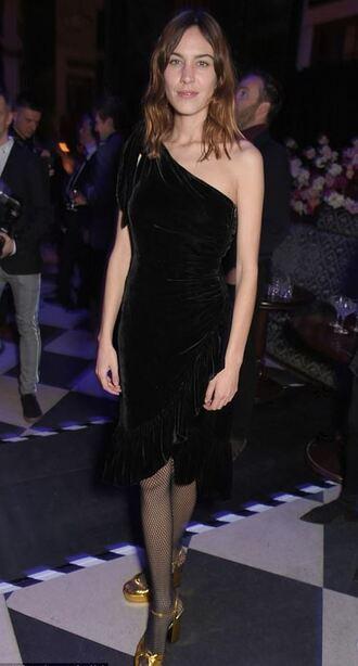 dress one shoulder alexa chung black dress brit awards sandals