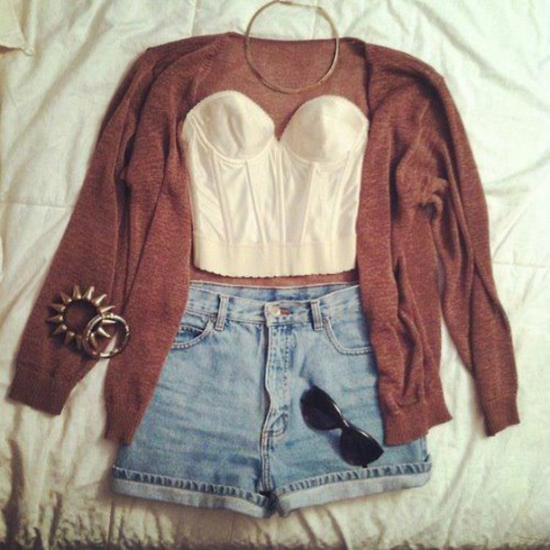 cardigan shorts halter top fall outfits hipster shirt
