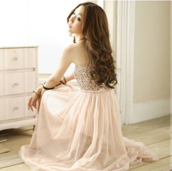dress beautiful dress chiffon dress strapless dress girl