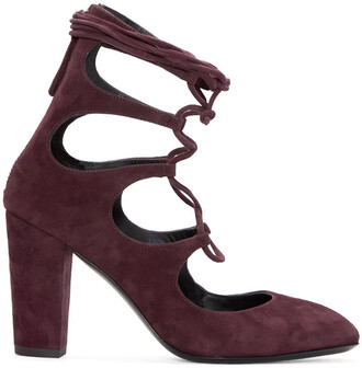 heels lace suede burgundy shoes