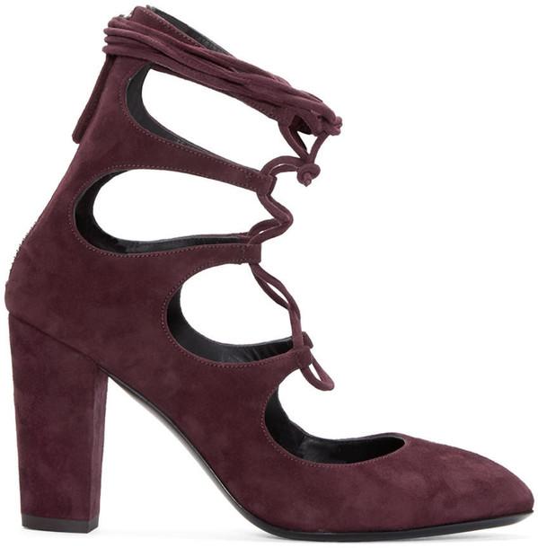 Giuseppe Zanotti heels lace suede burgundy shoes