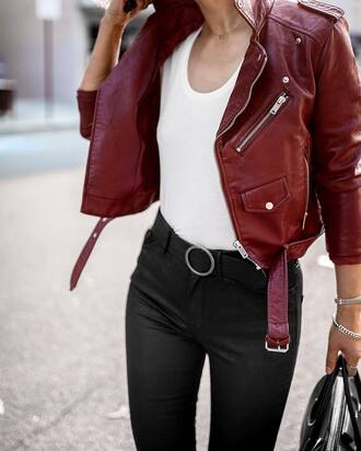jacket tumblr red jacket leather jacket t-shirt white t-shirt pants black pants belt black belt perfecto burgundy zip pocket jacket outfit idea fall colors