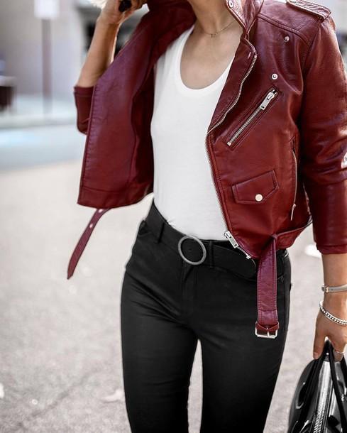 Jacket tumblr red jacket leather jacket t-shirt white t-shirt pants black pants belt ...