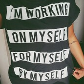 t-shirt,selfie shirt,printed shirt,shirt,black and white shirt,quote on it,zara,fitness,black,new years resolution,blouse,print,graphicshirt,badass,girl shirts,confidence,words on shirt,graphic tee