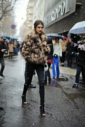 coat,fur coat,chanel,model,jacket,fur,red lipstick,snow,jeans,heels,shoes,black pants,winter outfits,cut out ankle boots