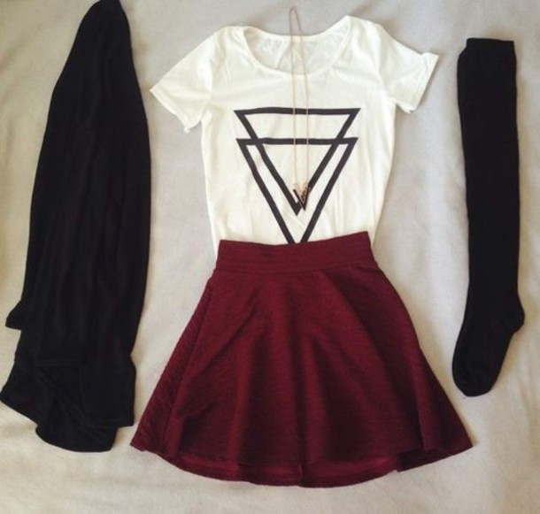 skirt t-shirt blanc triangle noir haut top